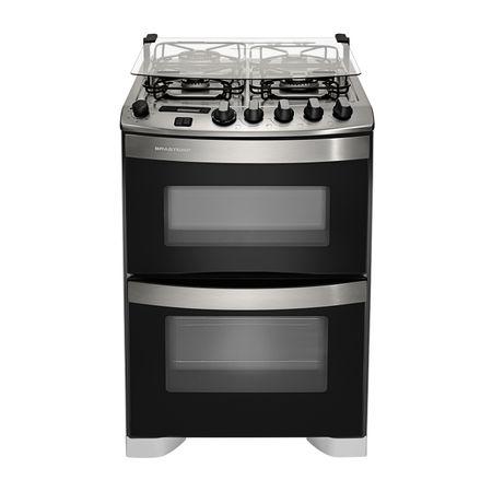 Fogão Brastemp 4 bocas duplo forno Branco com dupla chama e timer digital