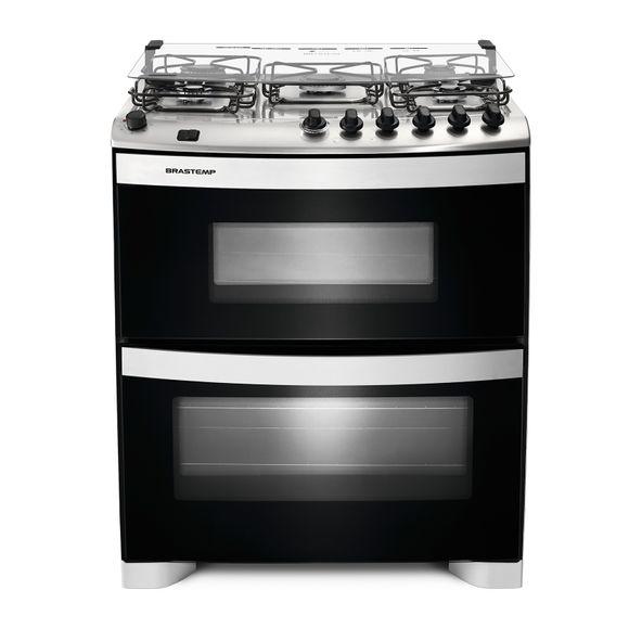 Fogão Brastemp 5 bocas duplo forno Branco com acendimento automático e mesa flat top 220V BFD5NABRNA