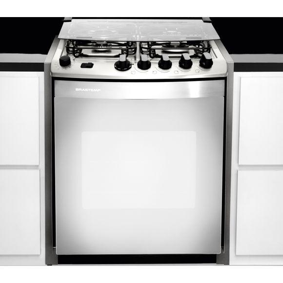 Oferta Fogão Brastemp 4 bocas embutir cor Inox com dupla chama e grill - BYS4GAR por R$ 2499