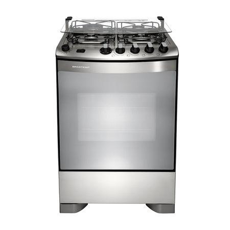 Fogão Brastemp 4 bocas cor Inox com dupla chama e grill