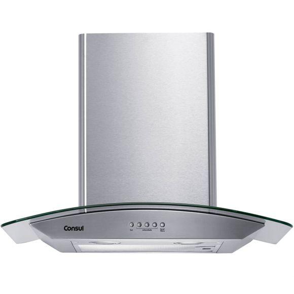 Coifa de Parede Consul 60 cm Inox 4 bocas com design em vidro e aviso lavar filtro 220V